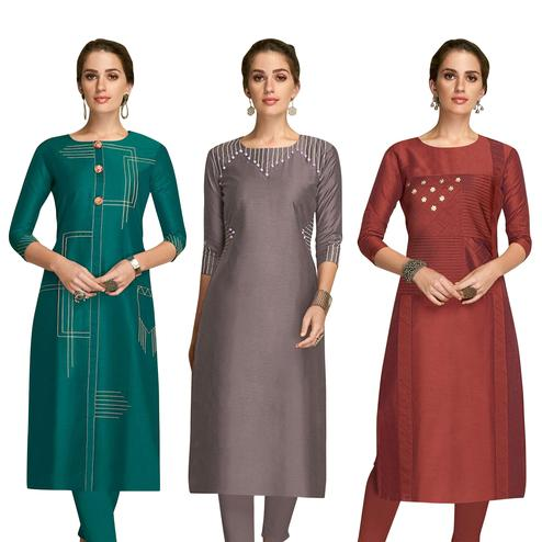 Impressive Partywear Embroidered Viscose Kurti - Pack of 3