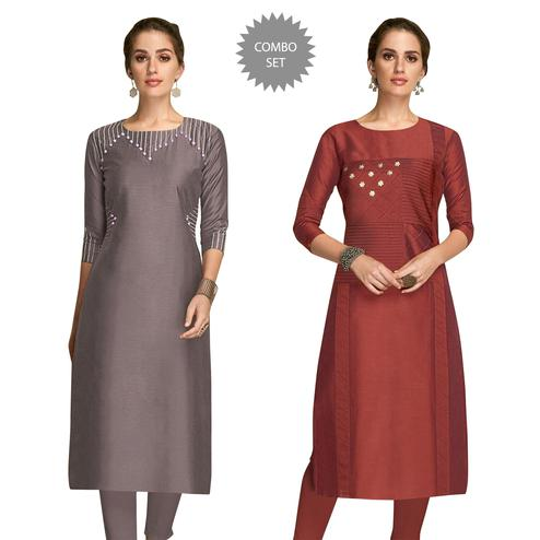 Mesmerising Partywear Embroidered Viscose Kurti - Pack of 2
