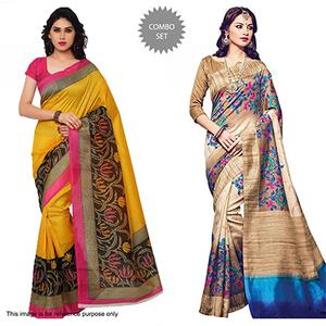 Yellow - Beige Saree Combo Offer