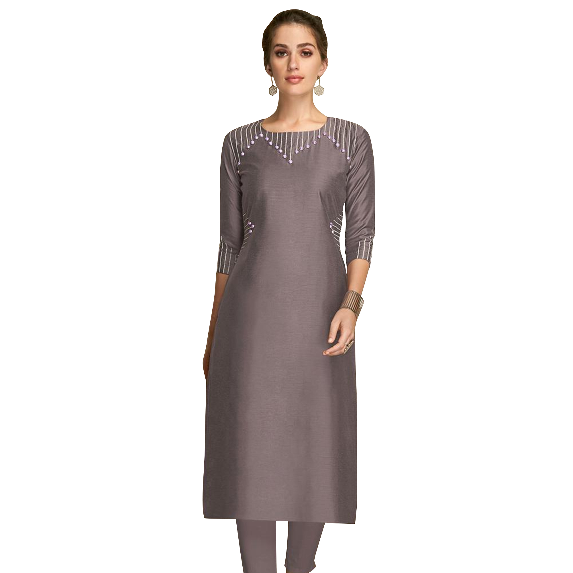 Breathtaking Partywear Embroidered Viscose Kurti - Pack of 2