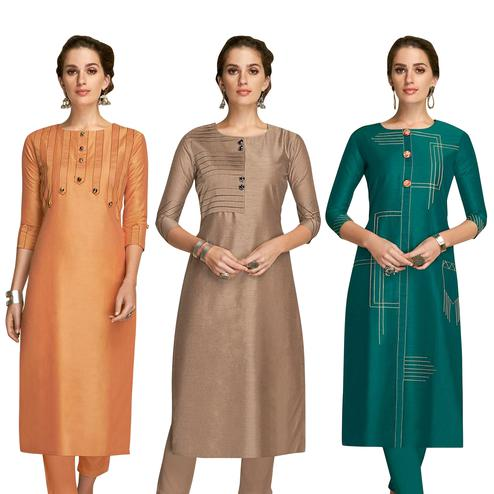 Gorgeous Partywear Embroidered Viscose Kurti - Pack of 3