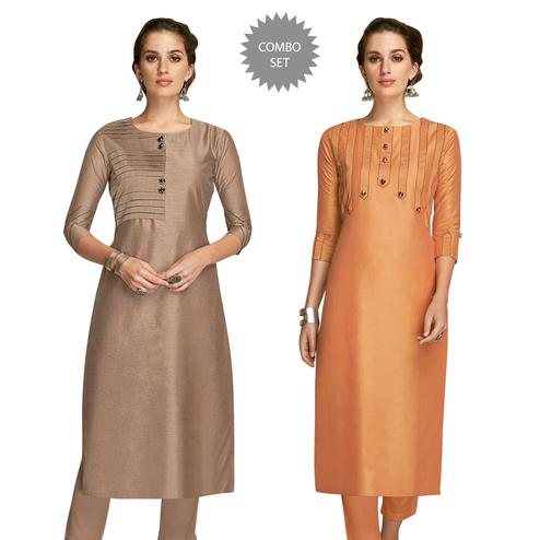 Majesty Partywear Embroidered Viscose Kurti - Pack of 2