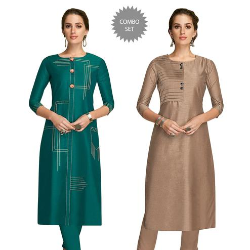 Exceptional Partywear Embroidered Viscose Kurti - Pack of 2