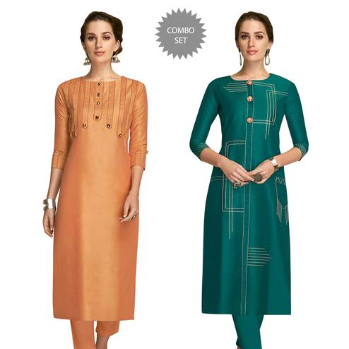 Gleaming Partywear Embroidered Viscose Kurti - Pack of 2