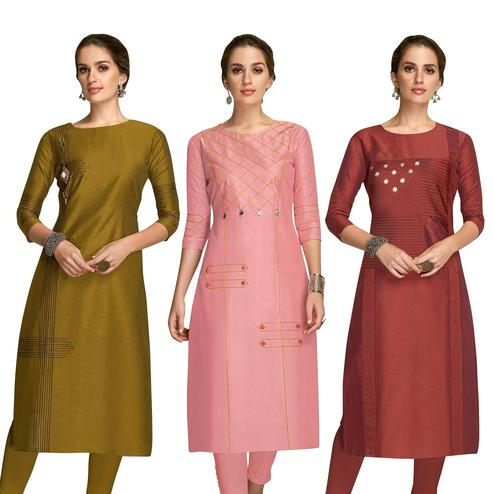 Refreshing Partywear Embroidered Viscose Kurti - Pack of 3