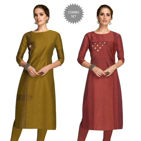 Magnetic Partywear Embroidered Viscose Kurti - Pack of 2