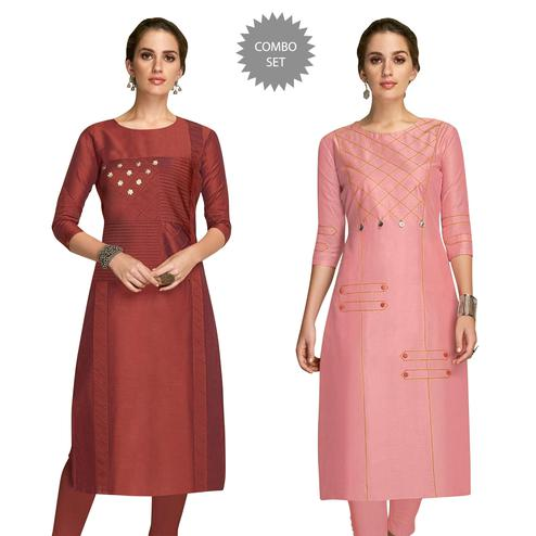 Flattering Partywear Embroidered Viscose Kurti - Pack of 2