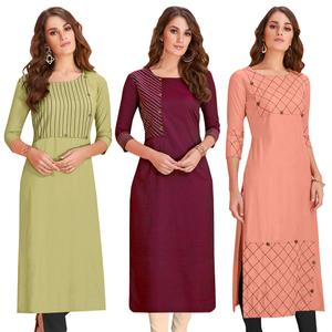 Intricate Casual Wear Rayon Kurti - Pack of 3