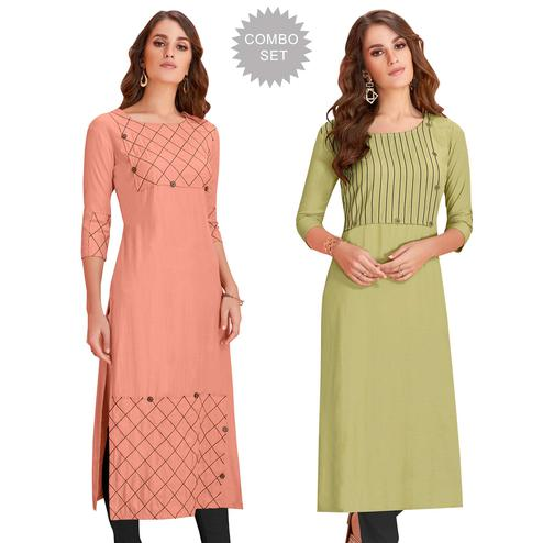 Exotic Casual Wear Rayon Kurti - Pack of 2
