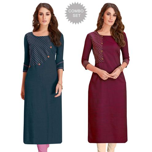 Elegant Casual Wear Rayon Kurti - Pack of 2