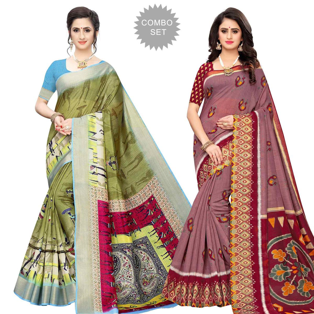 Adorable Casual Wear Printed Cotton Silk Saree-Pack of 2