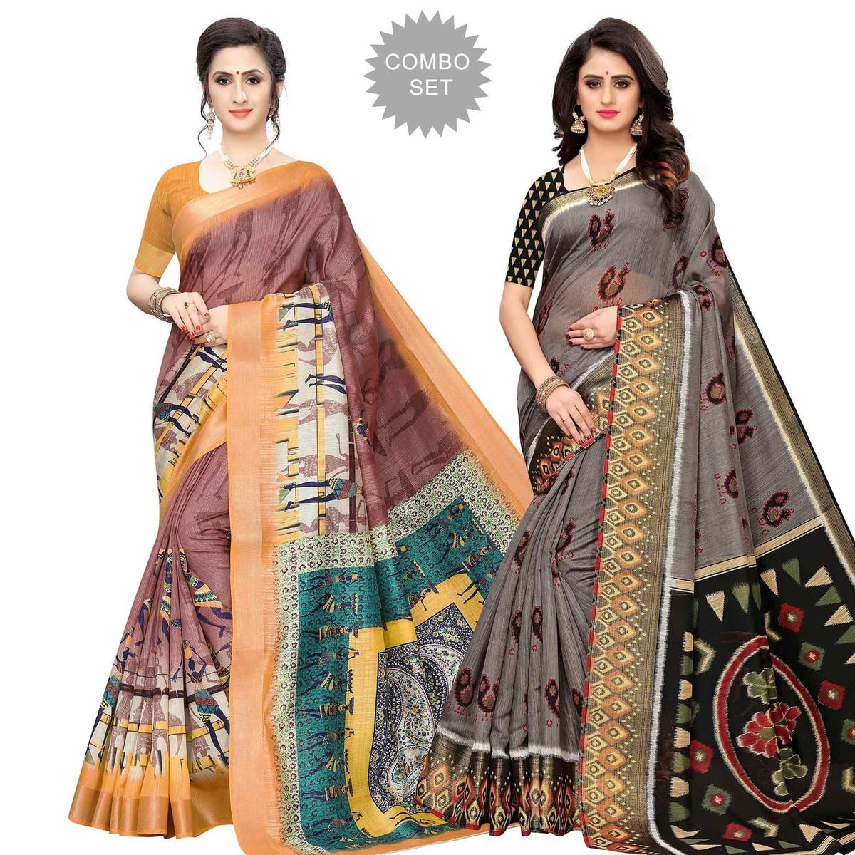 Glorious Casual Wear Printed Cotton Silk Saree-Pack of 2
