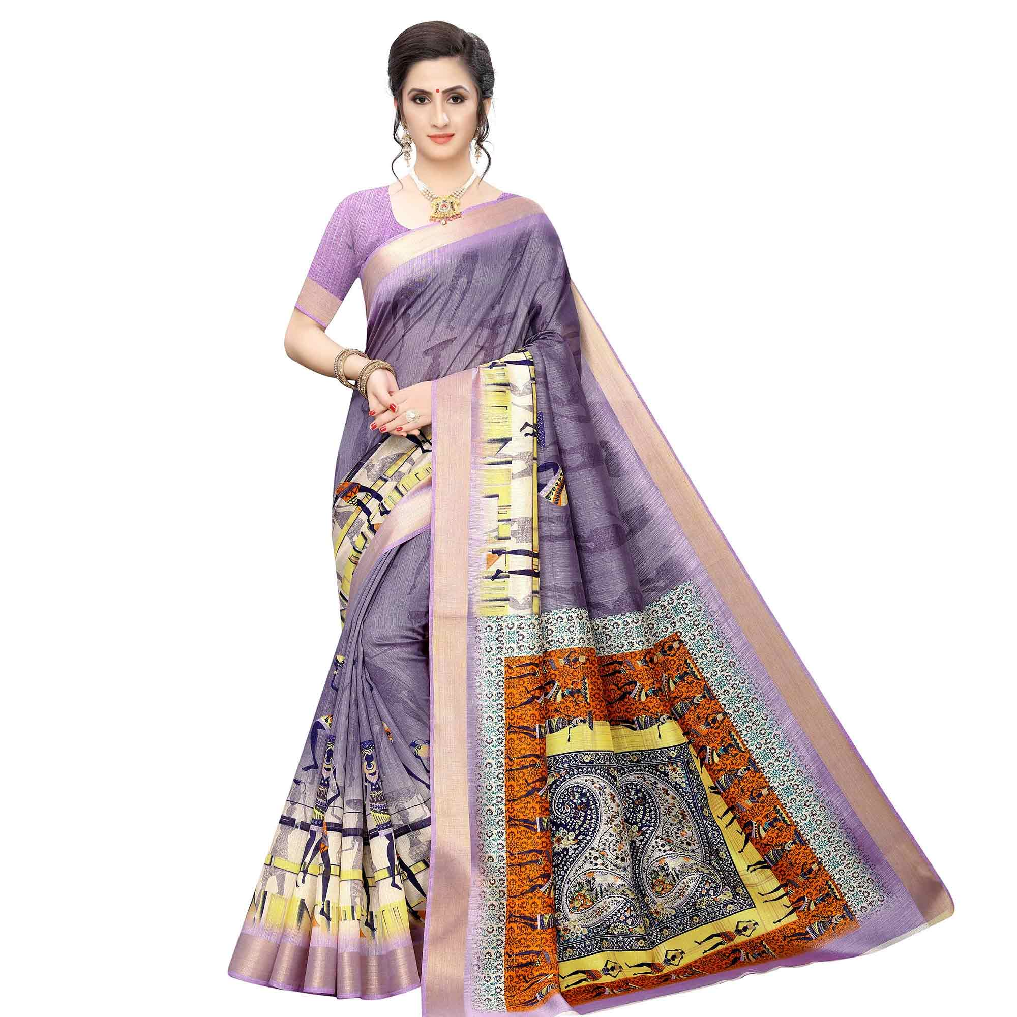 Attractive Casual Wear Printed Cotton Silk Saree-Pack of 2