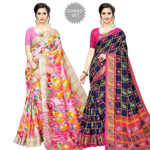 Beautiful Casual Wear Printed Cotton Silk Saree-Pack of 2