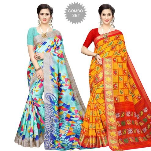 Graceful Casual Wear Printed Cotton Silk Saree-Pack of 2