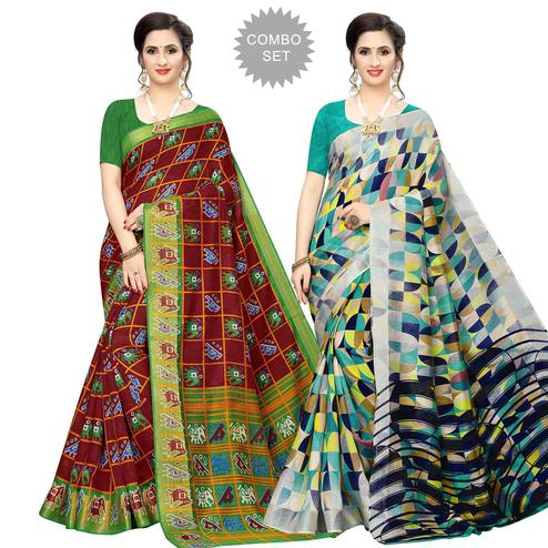 Blooming Casual Wear Printed Cotton Silk Saree-Pack of 2