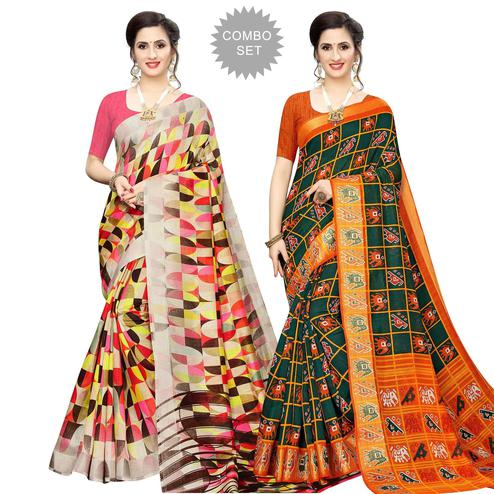 Charming Casual Wear Printed Cotton Silk Saree-Pack of 2