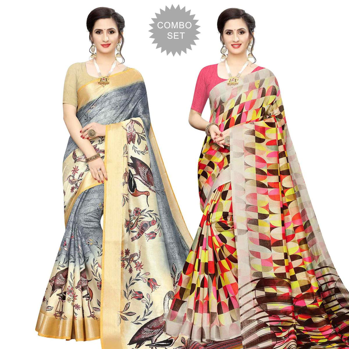 Jazzy Casual Wear Printed Cotton Silk Saree-Pack of 2