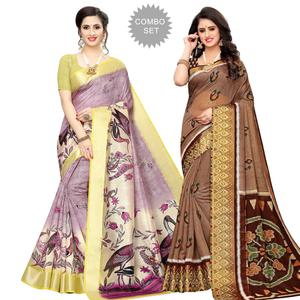 Engrossing Casual Wear Printed Cotton Silk Saree-Pack of 2