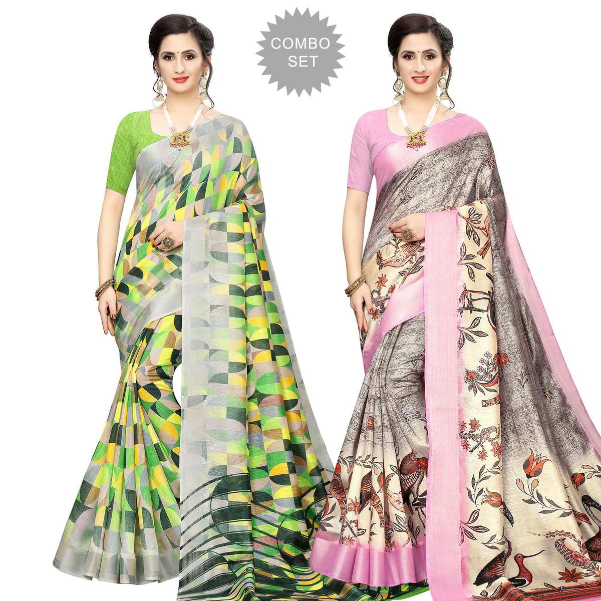 Captivating Casual Wear Printed Cotton Silk Saree-Pack of 2