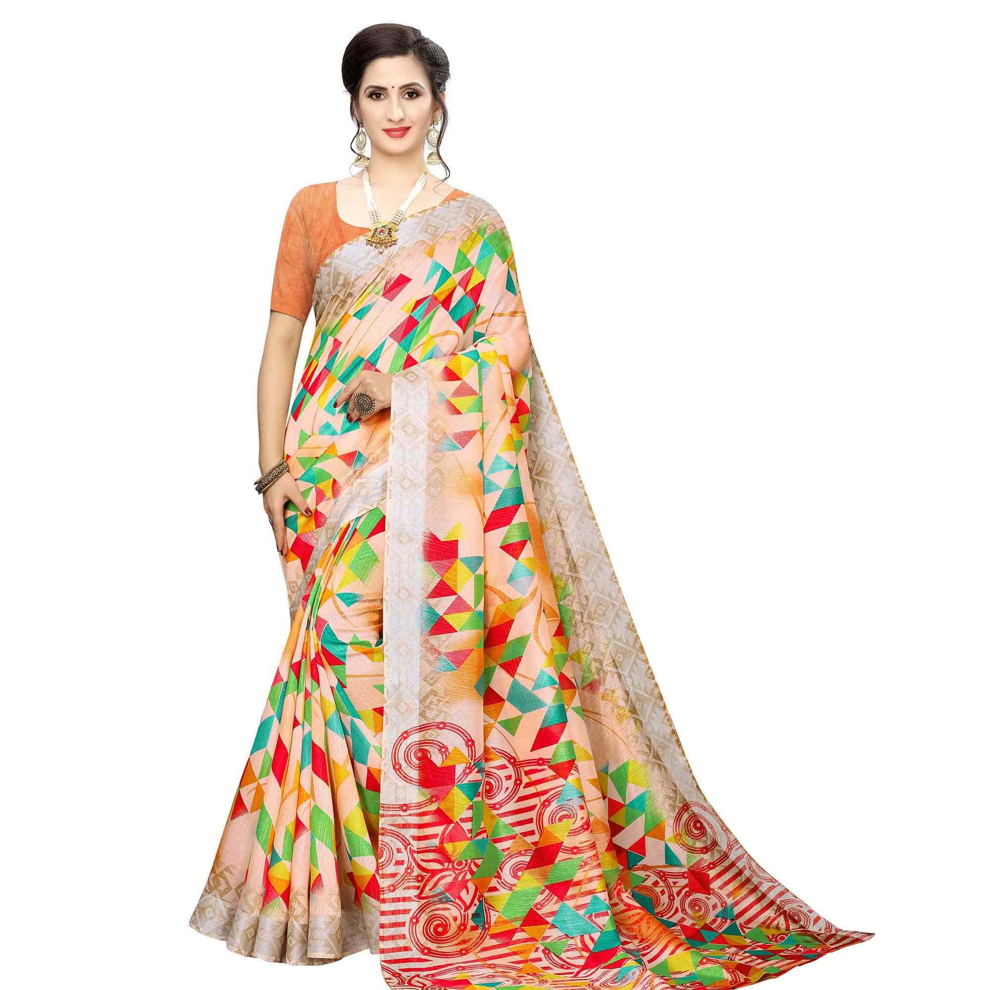 Eye-catching Casual Wear Printed Cotton Silk Saree-Pack of 2