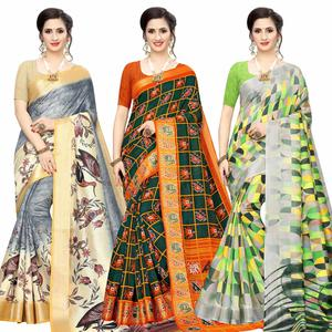 Surpassing Casual Wear Printed Cotton Silk Saree-Pack of 3