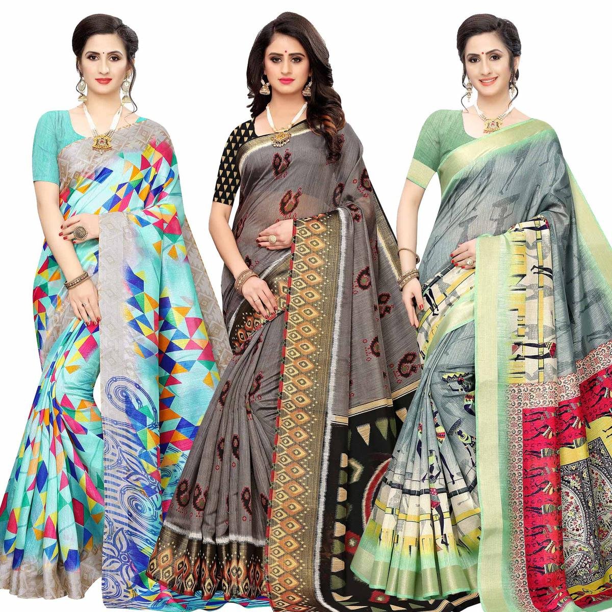 Glowing Casual Wear Printed Cotton Silk Saree-Pack of 3