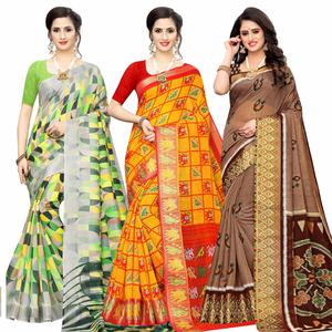 Exceptional Casual Wear Printed Cotton Silk Saree-Pack of 3