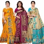 Trendy Festive Wear Khadi Silk-Mysore Silk Saree - Pack of 3