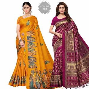 Pleasant Festive Wear Khadi Silk-Mysore Silk Saree - Pack of 2
