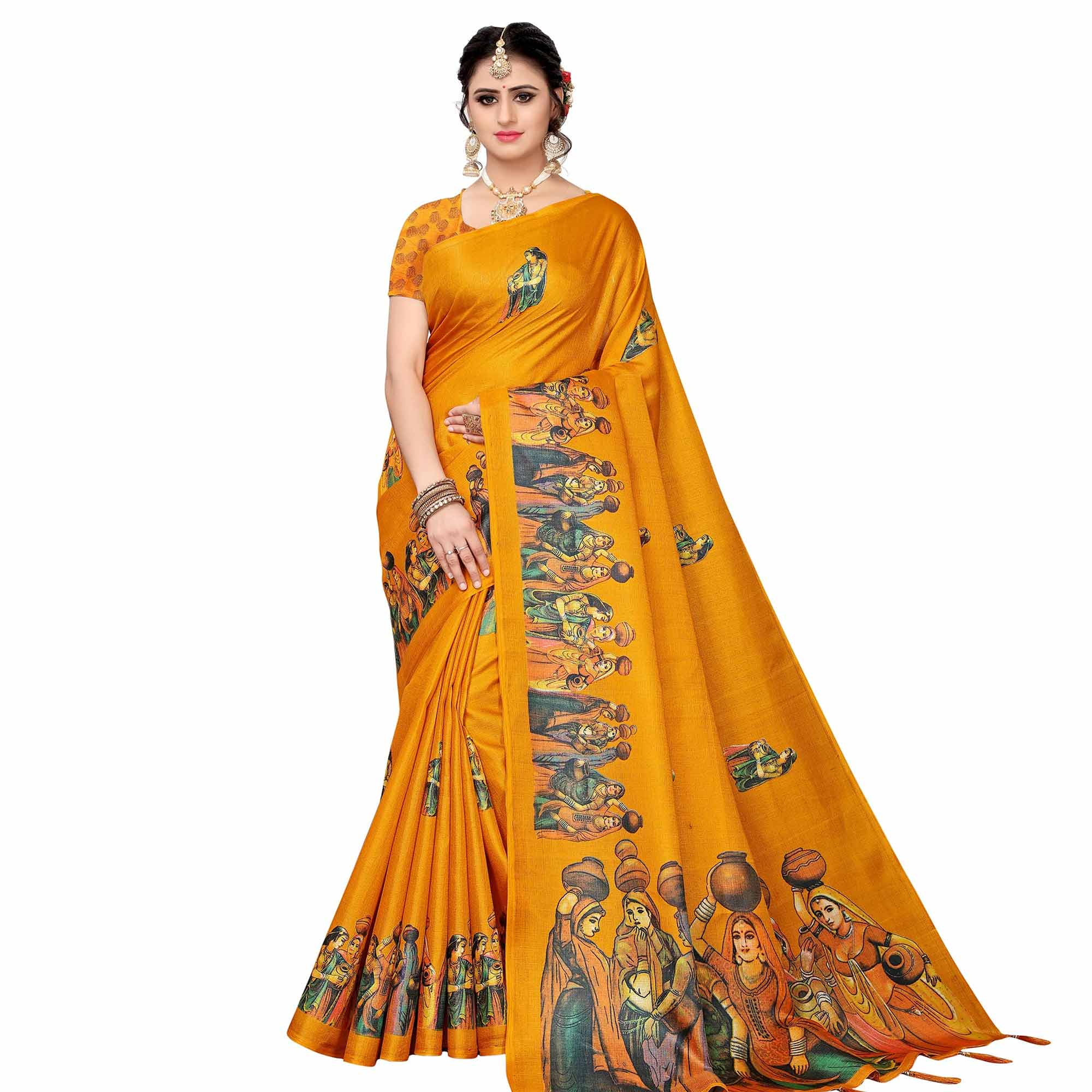 Glowing Festive Wear Khadi Silk Saree - Pack of 2