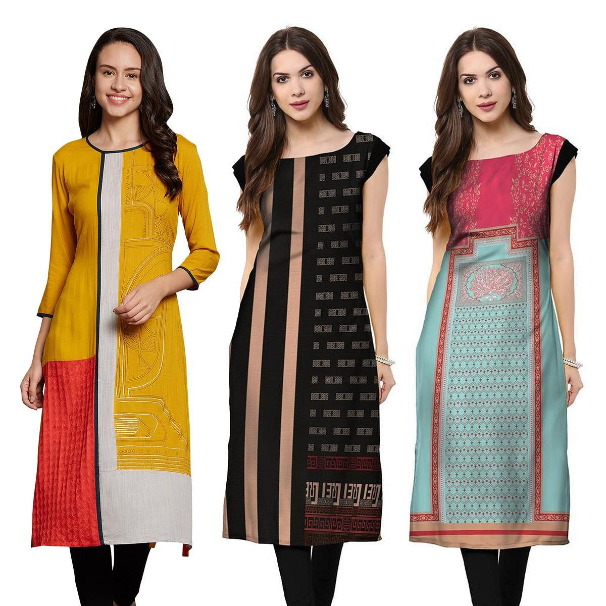 Gorgeous Casual Wear Printed Rayon-Crepe Kurti - Pack of 3