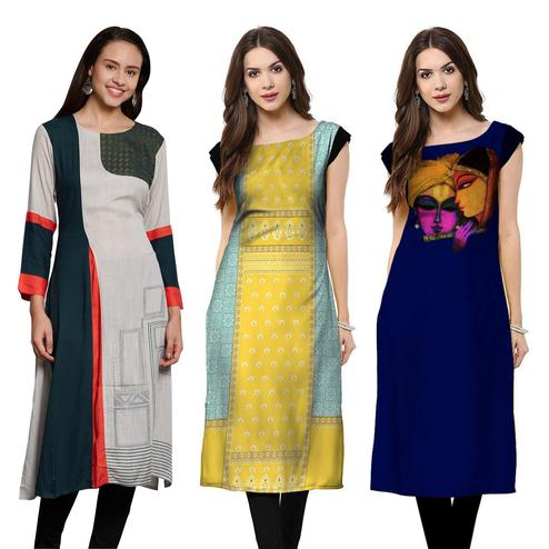 Prominent Casual Wear Embroidered-Printed Crepe-Cotton Kurti - Pack of 3
