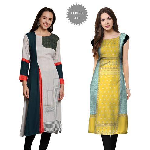 Capricious Casual Wear Embroidered-Printed Crepe-Cotton Kurti - Pack of 2