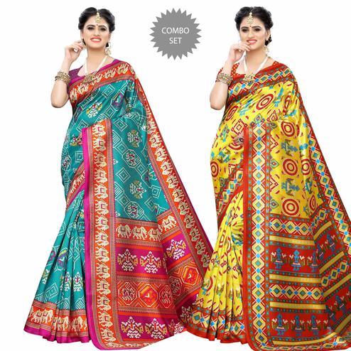 Gorgeous Casual Printed Art Silk Saree - Pack of 2
