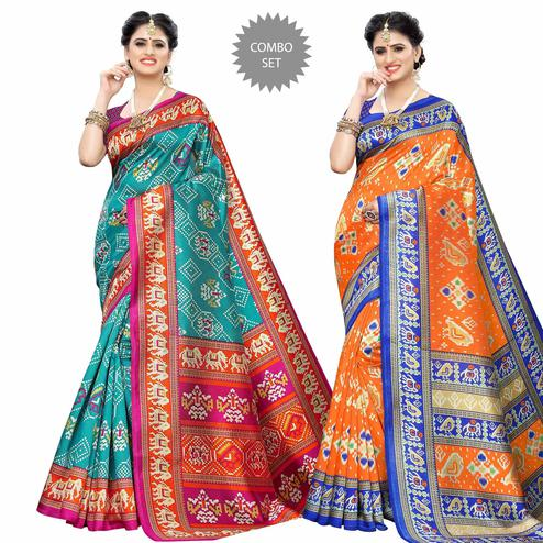 Amazing Casual Printed Art Silk Saree - Pack of 2