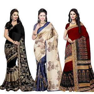Black - Blue - Red Pack of 3 Georgette And Bhagalpuri Silk Saree