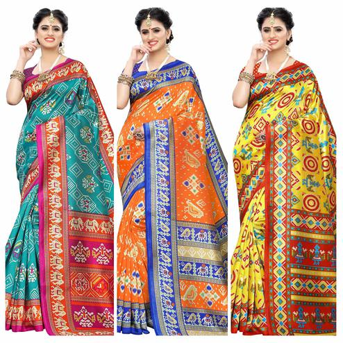 Fantastic Casual Printed Art Silk Saree - Pack of 3