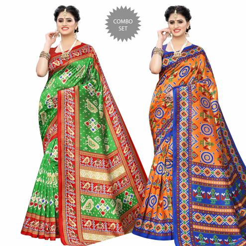 Mesmerising Casual Printed Art Silk Saree - Pack of 2