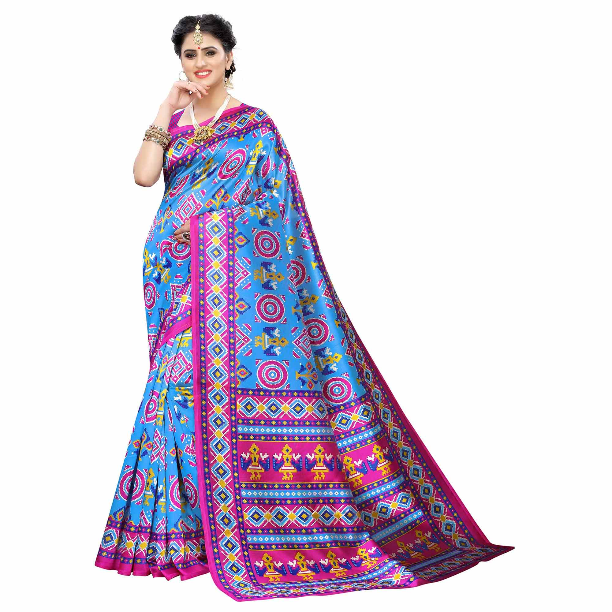 Ethnic Casual Printed Art Silk Saree - Pack of 2
