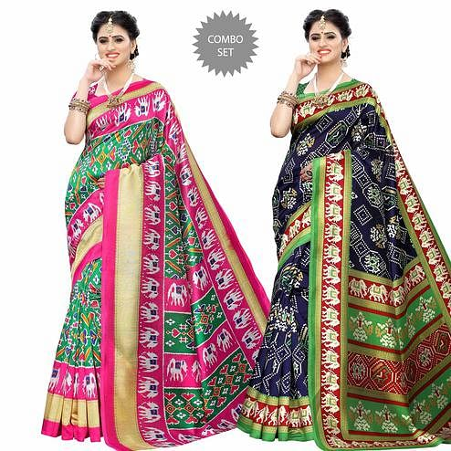 Groovy Casual Printed Art Silk Saree - Pack of 2