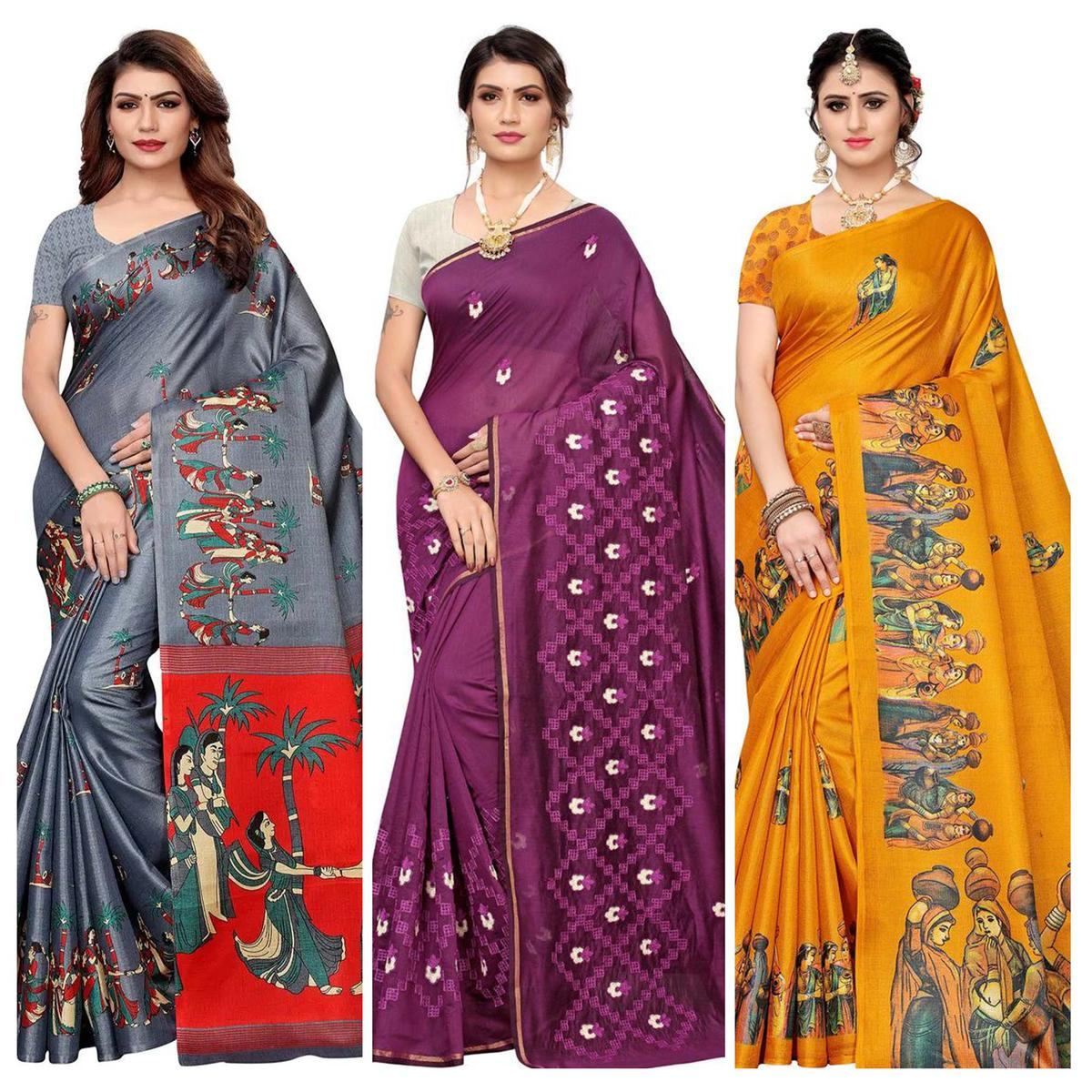 Intricate Printed-Embroidered Silk Saree - Pack of 3