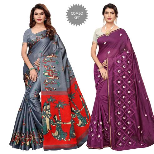 Arresting Printed-Embroidered Silk Saree - Pack of 2