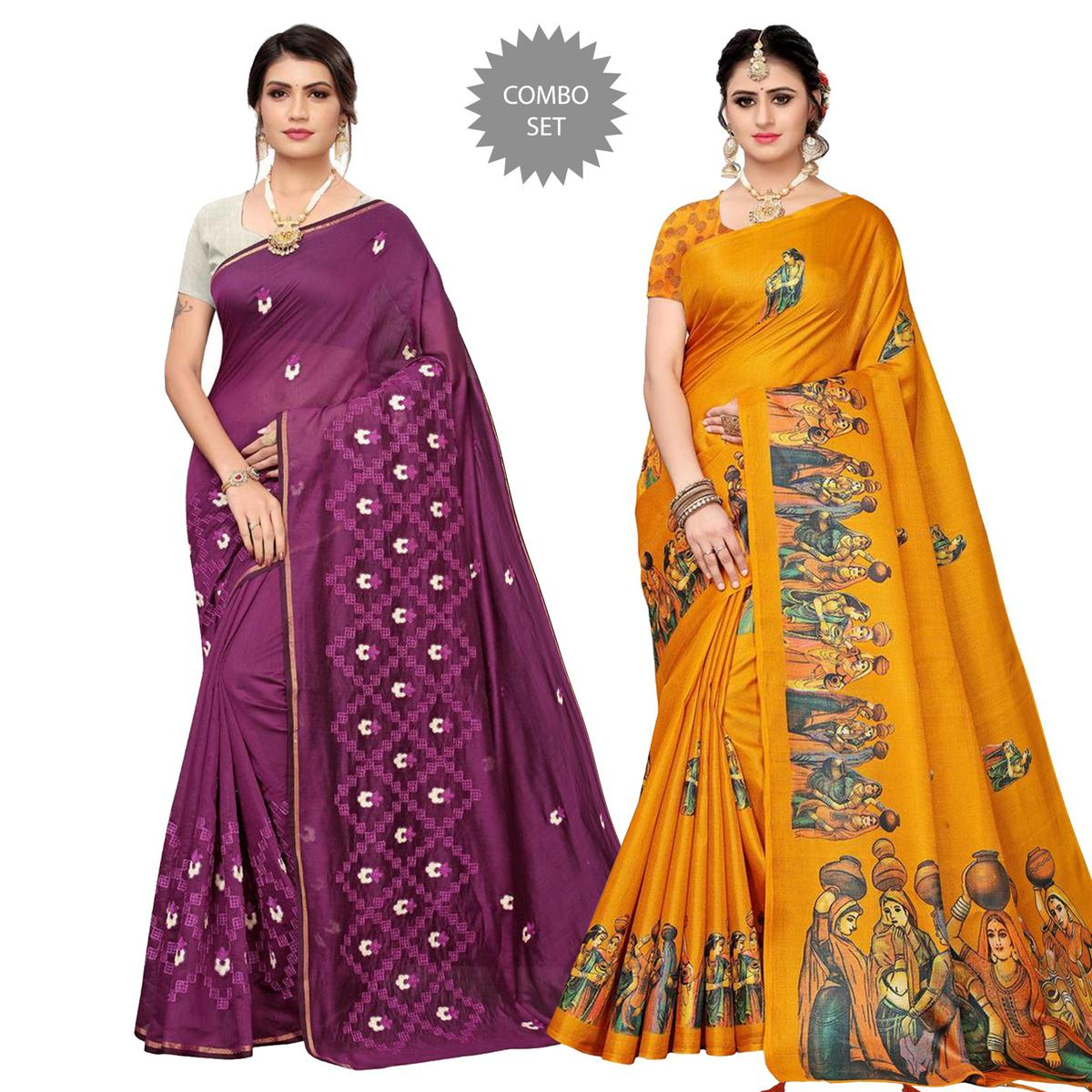 Exotic Printed-Embroidered Silk Saree - Pack of 2