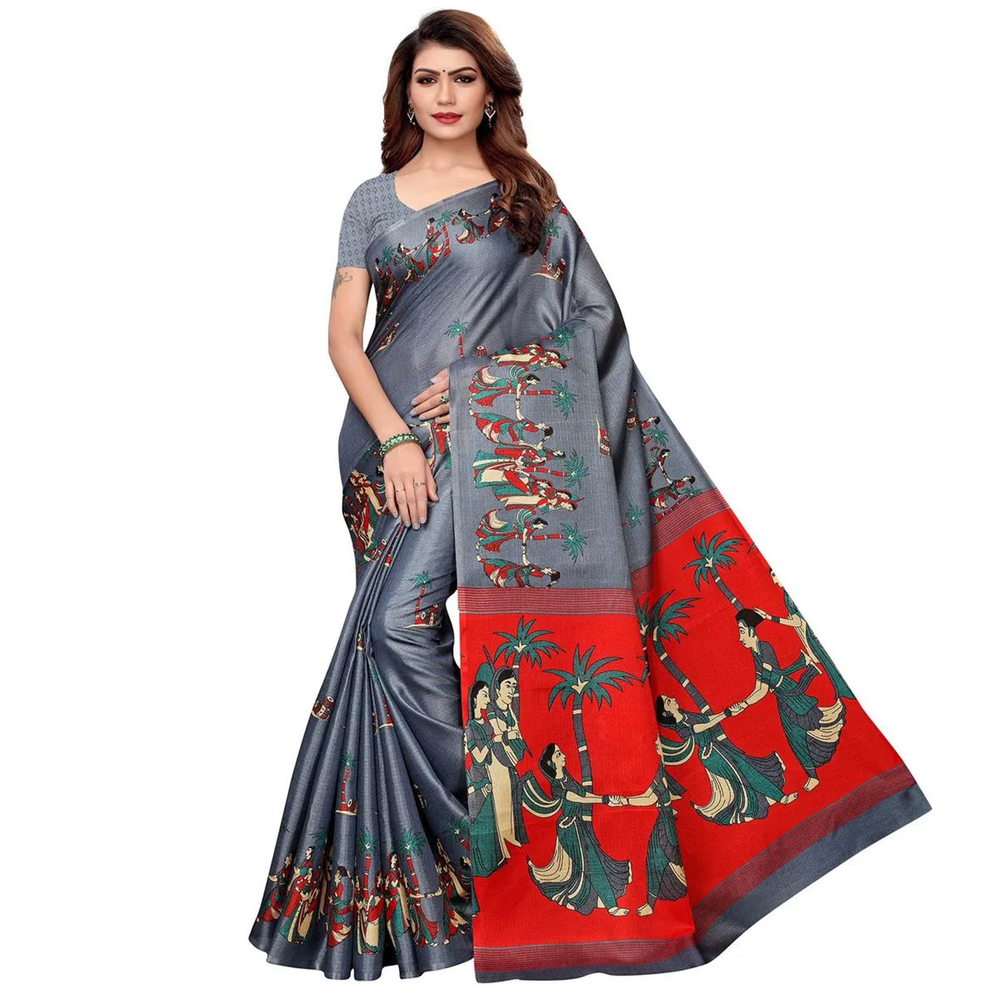 Appealing Festive Wear Printed Cotton Silk Saree Pack of 2