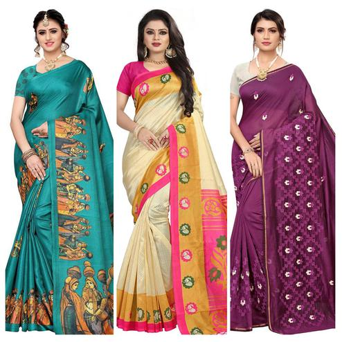 Blissful Printed-Embroidered Silk Saree - Pack of 3
