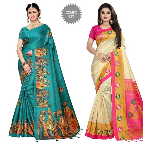 Ideal Festive Wear Printed Silk Saree Pack of 2