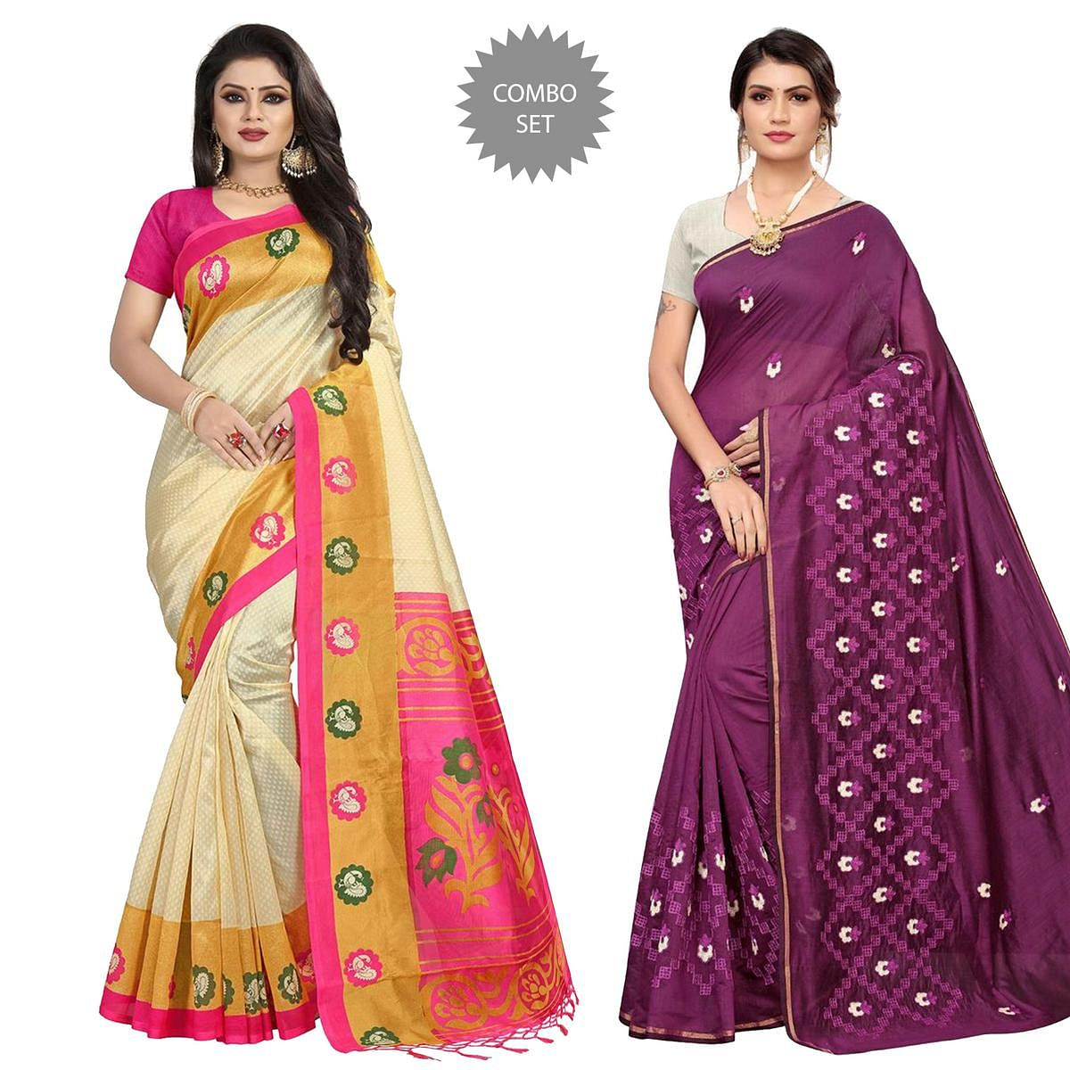 Imposing Printed-Embroidered Silk Saree - Pack of 2