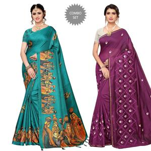 Lovely Printed-Embroidered Silk Saree - Pack of 2