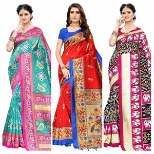 Adorable Printed Wear Art Silk Saree - Pack of 3